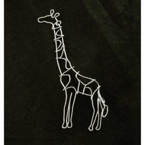 Brosa girafa, sârmă galvanizata cu inox, 11 x 5 cm