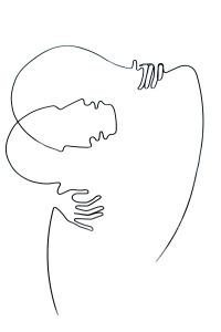 Iluzia sarutului | fir continuu de sârmă & acrilic | 60 X 40 cm