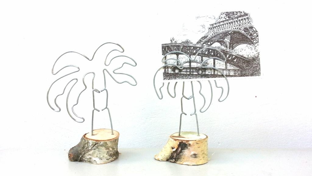 palmieri | suport pentru fotografii/ carti de vizita | sarma & lemn | 18 X 10 cm